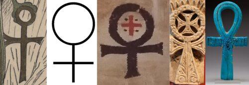 Montage : 1) détail du cadre du document écrit par Afifa Scandar Ibrahim pour Wl. Golenischeff. 2) symbole du genre féminin. 3) Croix copte sur tissu. 4) Croix copte en bas-relief. 5) Croix ânkh égyptienne en faïence.