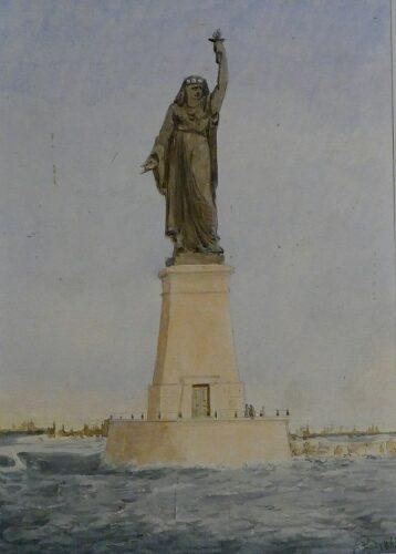 Projet d'A. Bartoldi pour une statue à l'entrée du port de Suez. Aquarelle, 1869. Musée Bartholdi de Colmar.